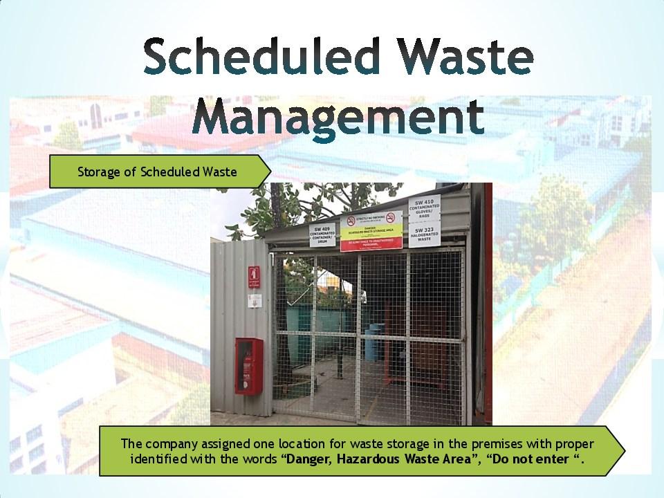 Schedule waste management 12